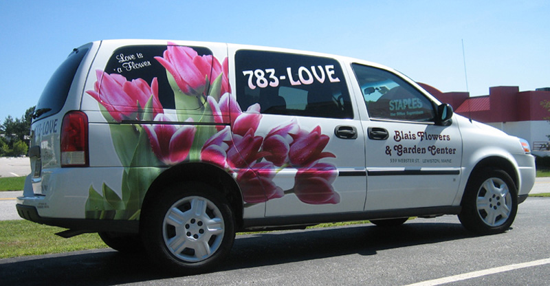 printed floral graphics on Blais Flower van, Lewiston, Maine