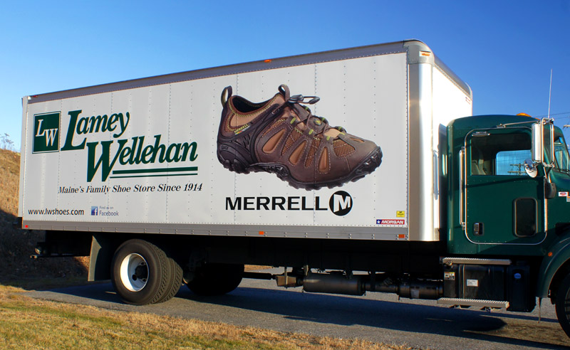 graphics on Lamey Wellehan truck, Lewiston, Maine