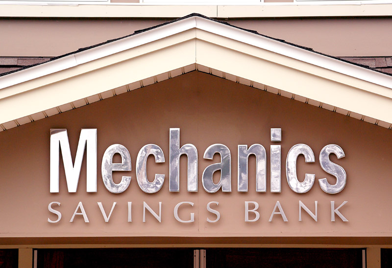cut out aluminum letter for Mechanics Savings Bank of Auburn, Maine