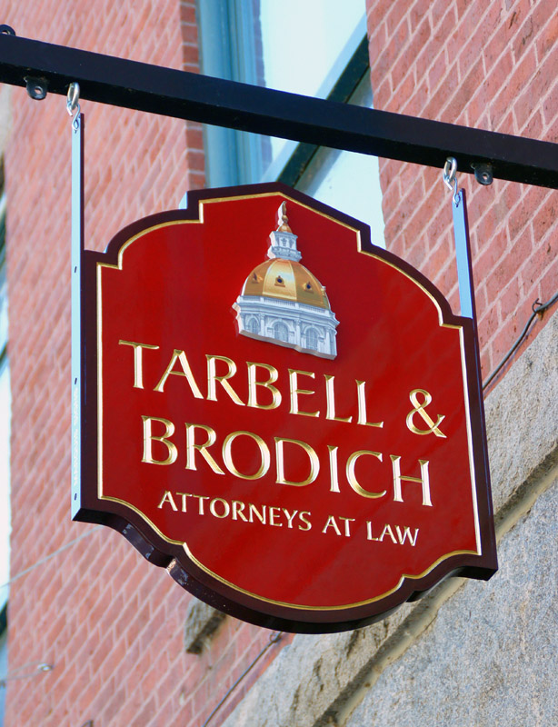 carved sign for tarbell & brodichof Auburn and Augusta, Maine