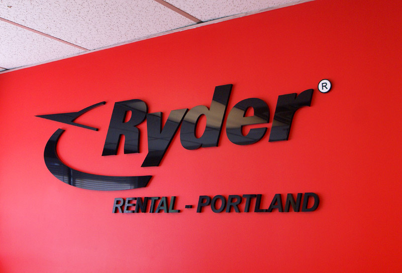 acrylic letters for Ryder Transportation office Portland, Maine location