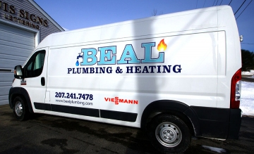 Letterin on large van for Beal Plumbing & Heating
