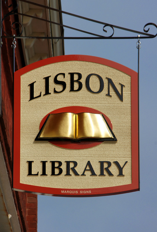 sandblasted HDU sign for Lisbon Library