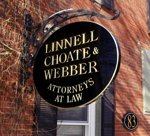 Carved Sign for Linnell Choate & Webber