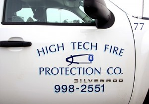 Truck lettering for High Tech Fire Protection