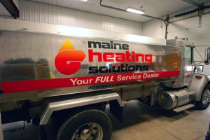 Vinyl lettering on oil delivery truck